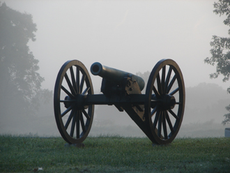 Cannon along Cornfield Road at dawn